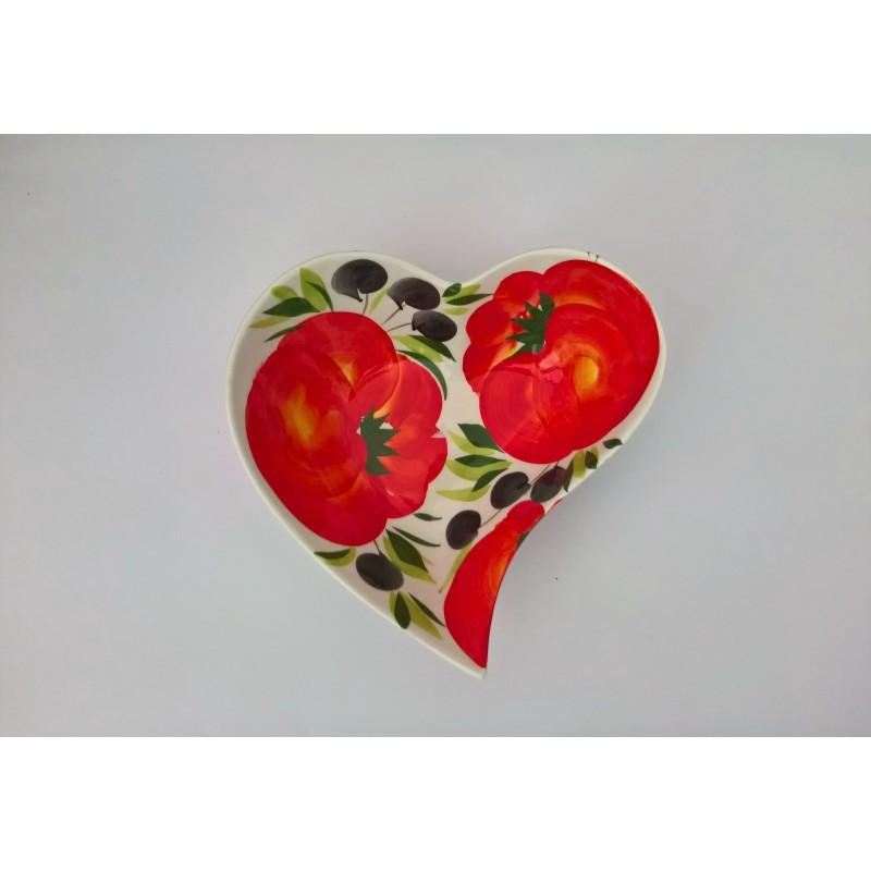 Ciotola cuore pomodoro/oliva 20 cm