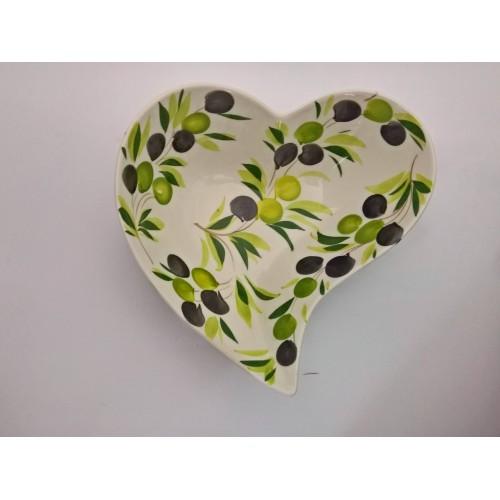 Ciotola grande cuore oliva 30 cm