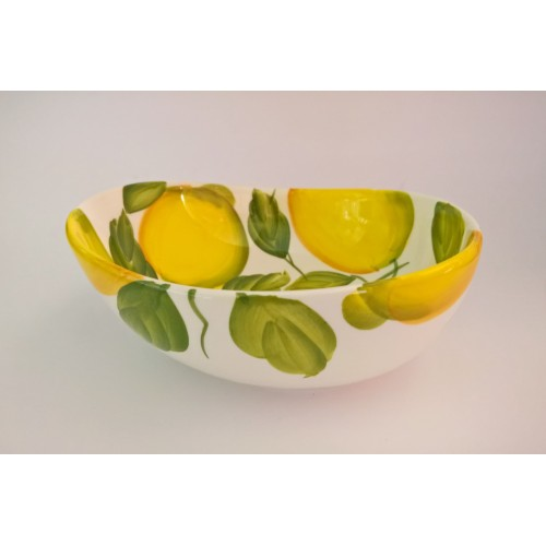 Bowl wave with lemons painted 20cm