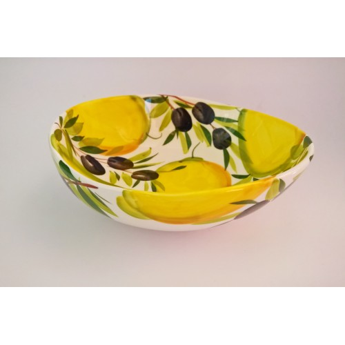 Bowl wave lemons and olives painted 20cm