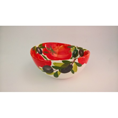 Bowl wave tomato and olive painted 14 cm
