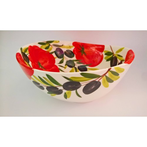 Bowl wave tomato and olive painted 30cm
