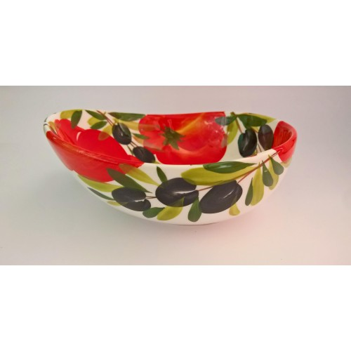 Bowl wave tomato and olive painted 20cm