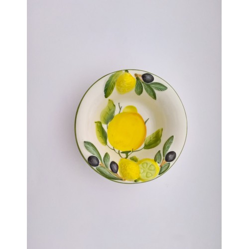 Small bowl with lemon and olives painted and rilief