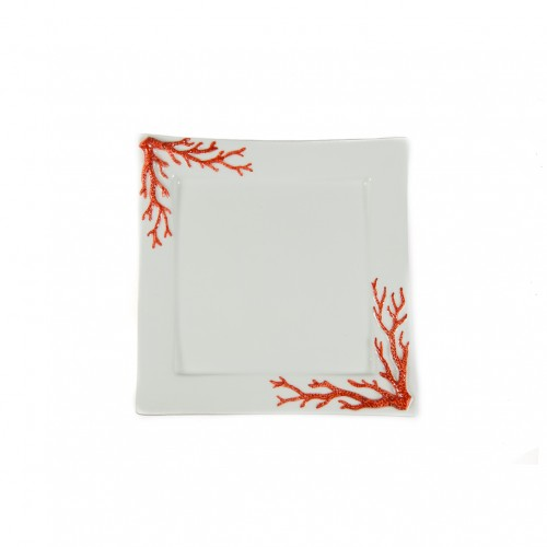 Plate with relief red coral