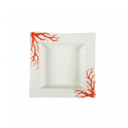 Soup-plate with red coral relief