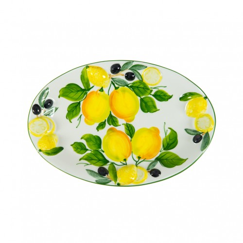 Tray with lemon and olive