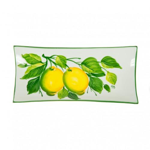 Medium tray with lemon painted 30cm
