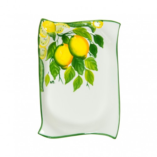 Ceramics Tray with lemon  painted