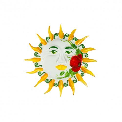 Sole da muro dipinto con Papavero