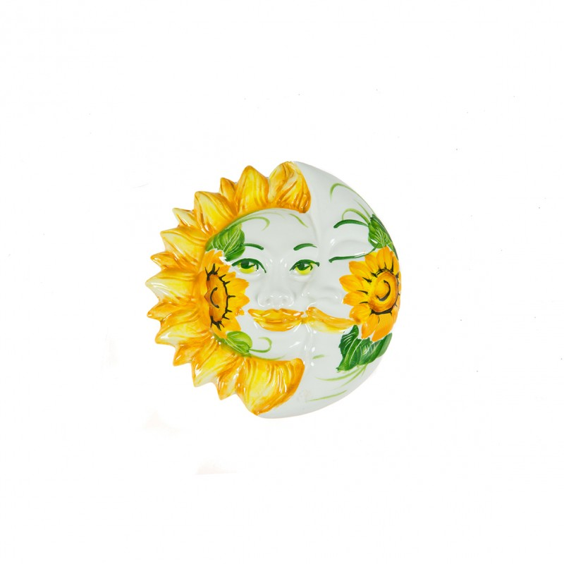 Wall Eclipse Sun and Moon with sunflower painted