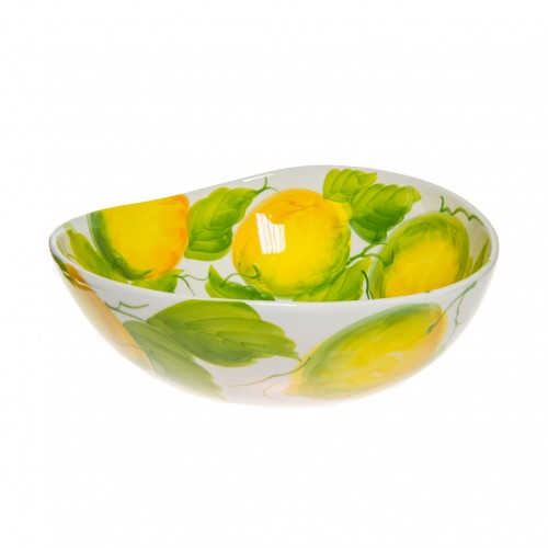 Bowl wave with lemons painted 25cm