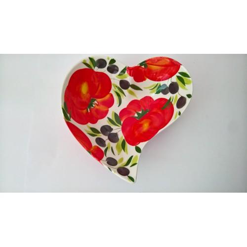 Medium Heart bowl tomato/olives 25 cm