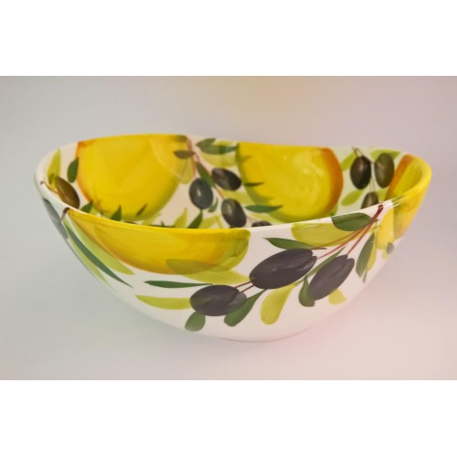 Bowl wave lemon and olive painted 25 cm