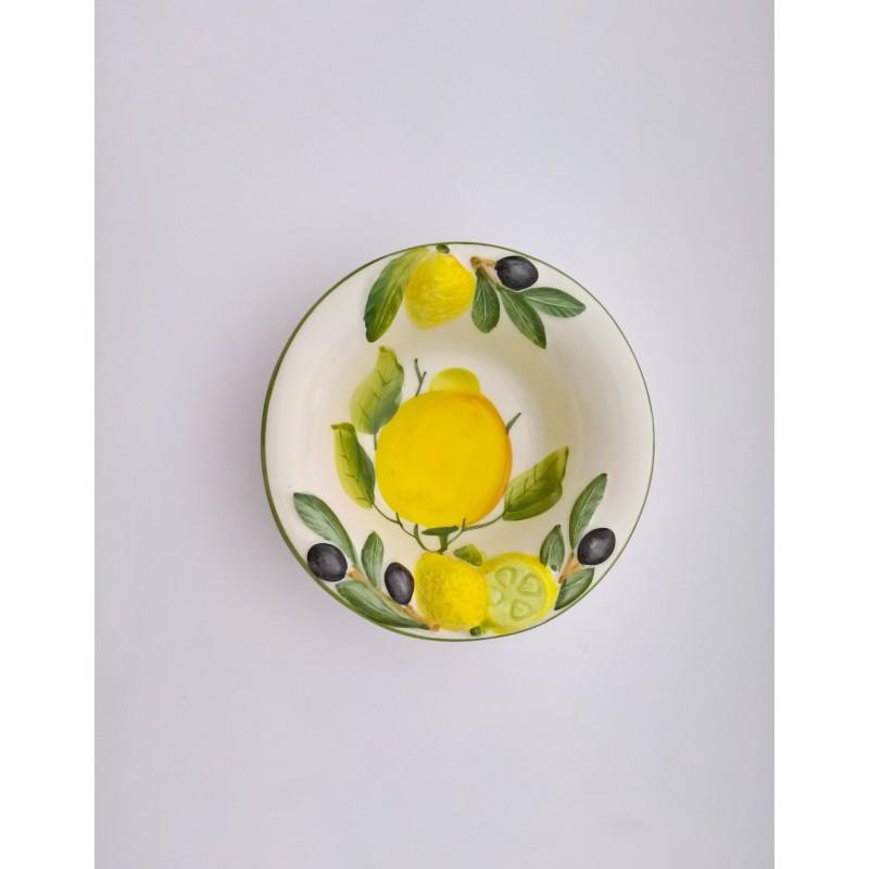 Ciotolina limone oliva dipinta e rilievo