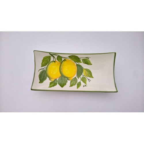 medium rectangular tray lemon painted