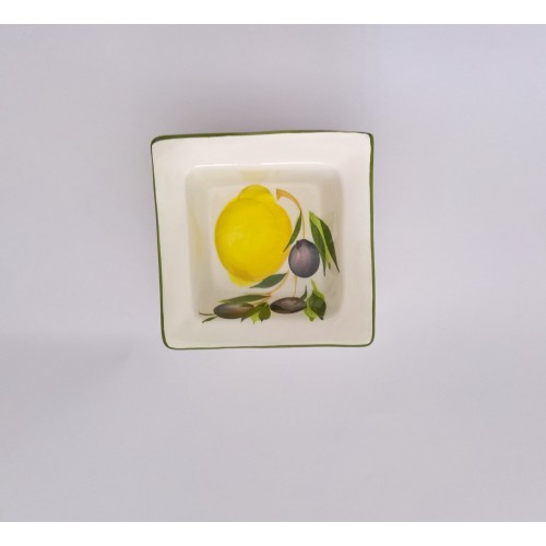 Small square bowl lemon painted