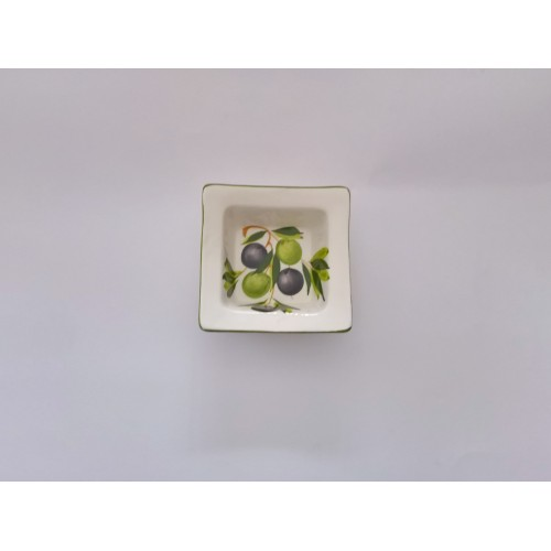 Small square bowl with olives painted