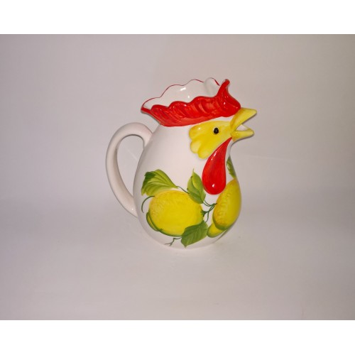Jug cock with lemon painted