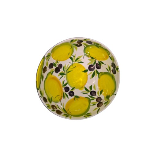 Salad bowl Wave painted lemon olive 30 cm