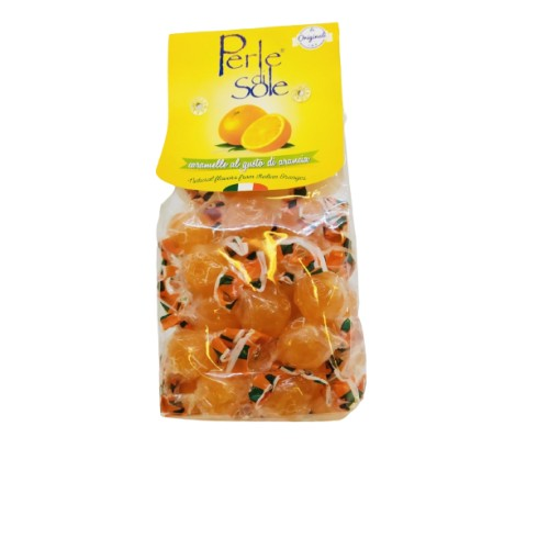 Hard boiled candies with orange flavour