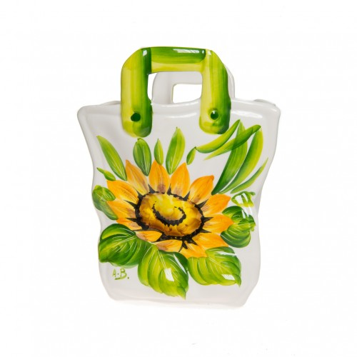 Ceramics Bag with sunflower painted