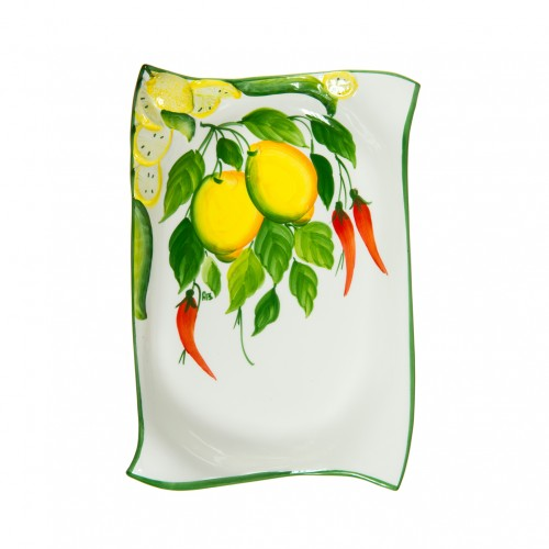 Ceramics Tray with lemon and chilly pepper
