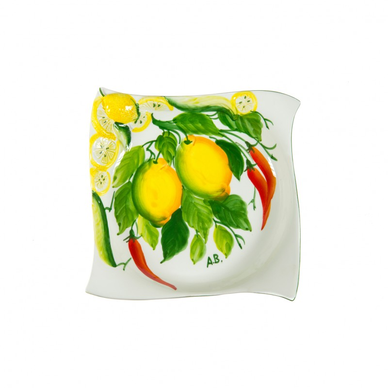 Soup-plate with lemon and chilly pepper painted