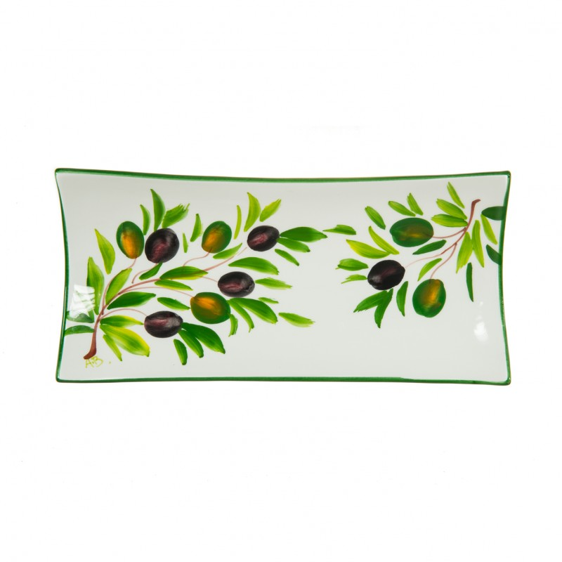 Ceramics Bread box with olive painted