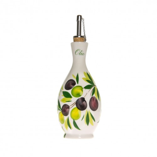 Oil cruet with olives painted