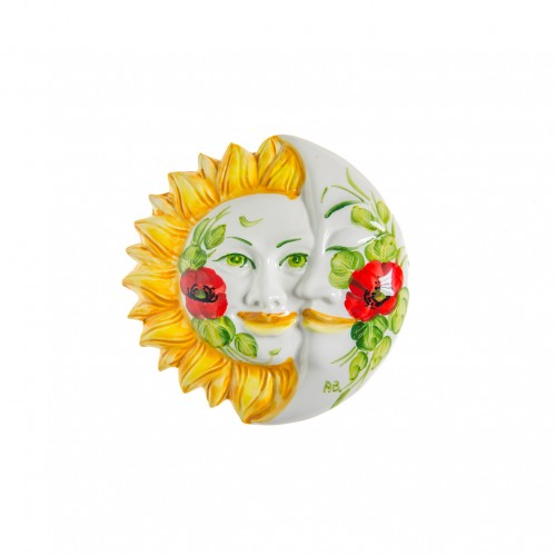 Wall eclipses sun and moon with poppy panited